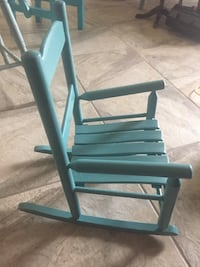 Aqua wooden rocking chair for a small child