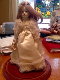 """China doll 12"""" high in glass case on stand Toronto, M8Z 4M9"""