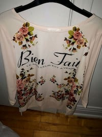 white and red floral scoop neck shirt Montréal, H4L 2X5