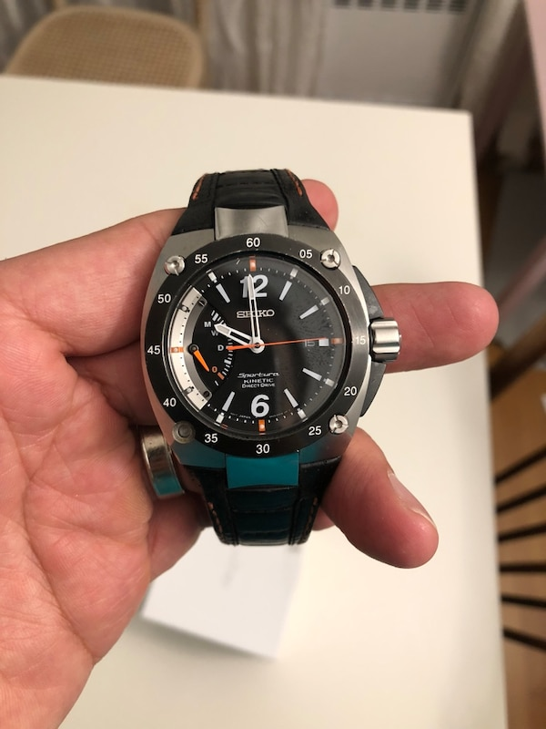 3e362b736371 Used Seiko Kinetic Watch with Leather Strap for sale in New York - letgo