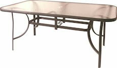 rectangular frosted glass table with brown metal base