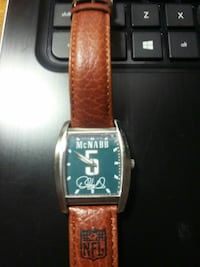square silver analog watch with brown leather stra Ashtabula, 44004