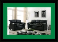 Black bonded sofa and loveseat Fairfax
