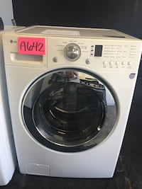 white LG front-load clothes washer