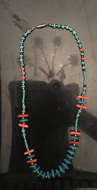 blue and orange beaded necklace