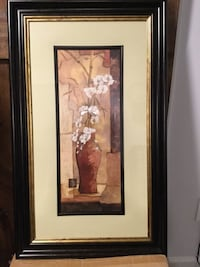 Painting - set of Two Vase with white orchids painting with black frame