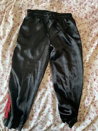 Satin cropped track pants