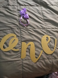 """""""One"""" banner, headband, cake topper and onesie (never opened) $5 each individual item  New York, 11421"""