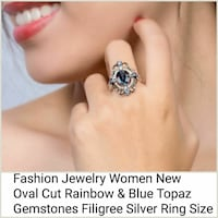 women's oval-cut rainbow and blue topaz gemstone silver ring with text overlay DeKalb, 60115