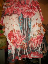 red and white floral print shirt Tulsa, 74104