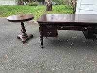 Wooden desk and matching wooden side table and matching lamp