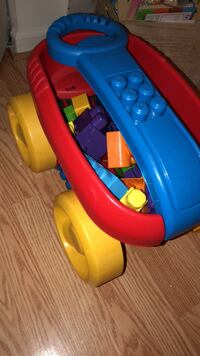 Baby's blue and red plastic slide