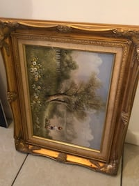 brown wooden framed painting of trees Lake Worth, 33460