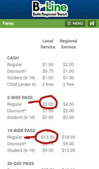 I have two ten ride passes and one 2 ride pass Chico, 95928