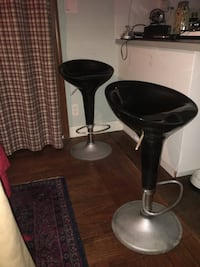 two black leather padded bar stools Tsawwassen, V4M 2V9