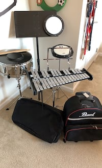 Snare drum, glockenspiel, music stand, 2 practice pads, bags & sticks
