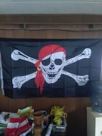 black and white pirate banner