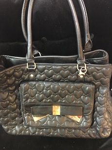gray heart quilted leather tote bag
