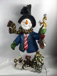 Large Ceramic Snowman - light up