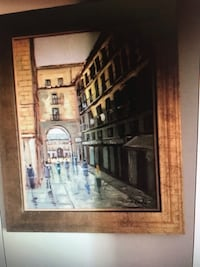 "Nice oil painting Paris street theme - 18""x20"" Approx"