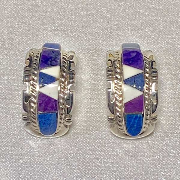 Genuine Navajo Mosaic Sterling Silver Lapis Sugilite Earnings 2c14afc7-e19d-408c-9f26-9e9acc288389