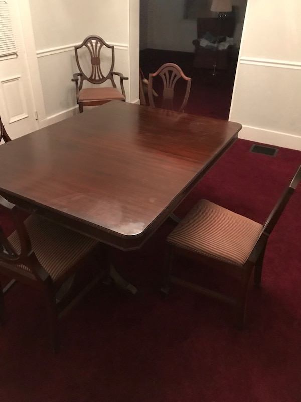 Excellent Antique Dining Table 1920S 30S W 6 Chairs And Sleeve Included Rockford Furniture Company Cjindustries Chair Design For Home Cjindustriesco