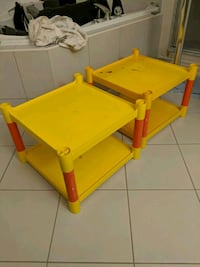 yellow and red plastic shelves/tables Toronto, M8Z 1P5