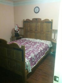 brown wooden sleigh bed frame Calgary, T3J 1T5
