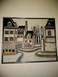 brown wooden framed painting of house 26 km