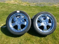 20 inch tires and rims. Will fit Chevy Tahoe or Ni Medina, 14103
