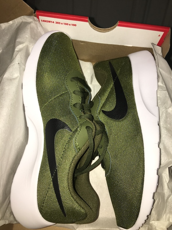 Brand new never worn kids Nike Tanjun (olive green) size 5Y