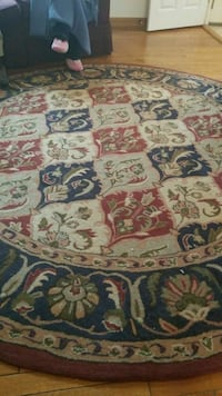 white, brown, and blue floral area rug Montclair, 22025