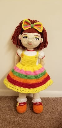 red and yellow knitted doll Waldorf, 20602