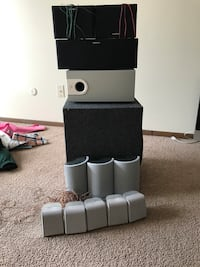 black and gray multimedia speaker lot (Sub gone) 294 mi