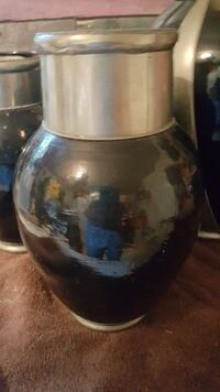Flower pot metal and black pottery  Greenville, 75401