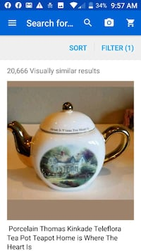 """Thomas Linkage Teapot """"Painter of Lights. """"Home is where the Heart is"""""""