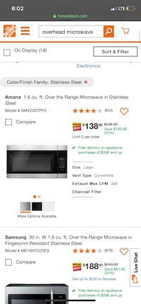 Over range microwave Independence, 41051