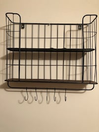 Black metal shelf with 5 hanging hooks  Wheaton, 60187