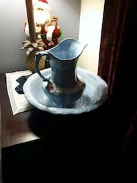 Blue water pitcher and bowl Alexandria