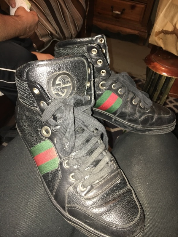 acfede9fdb6 Used Black leather gucci high tops sneakers for sale in San Jose - letgo
