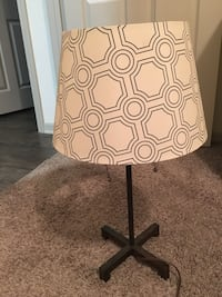 Navy and white floral table lamp
