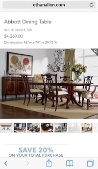 Used Ethan Allen Abott Dining Table For Sale In Greenwich