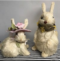 NEW! SET OF 2 PIER ONE NATURAL BUNNY RABBITS Cockeysville, 21030