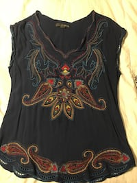 women's blue, red and black v neck sleeveless shirt