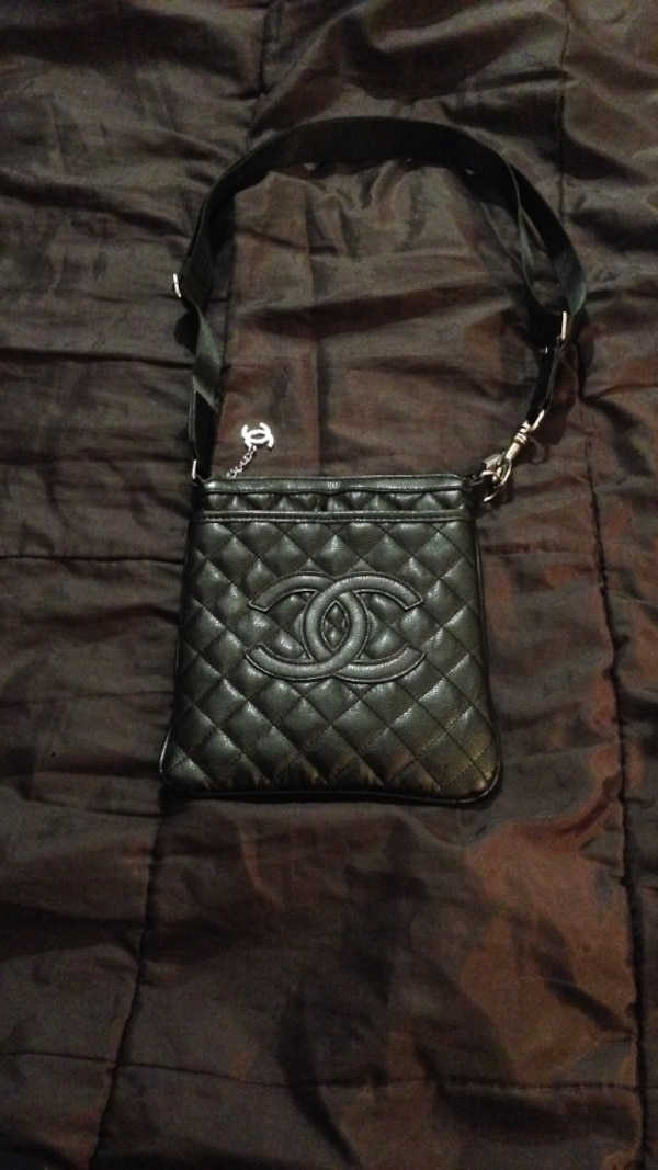 88253e1d8d8d Used Black leather chanel quilted crossbody bag for sale in Pennsauken -  letgo