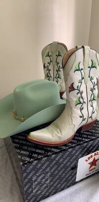 White-and-green leather cowboy boots size 5.5 women. Cowboy hat is 6 &3/4 Anaheim, 92801