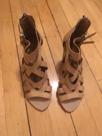 pair of brown leather open-toe heeled sandals Montréal, H2T 2Y3