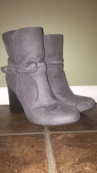 Pair of gray suede boots (super cute when on) (: Lethbridge, T1J 4V2