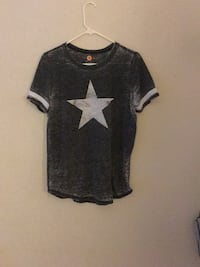 black and white star print crew-neck shirt