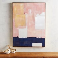 Pier 1 Blush Mod Cubist Abstract Canvas Wall Art Vienna, 22181